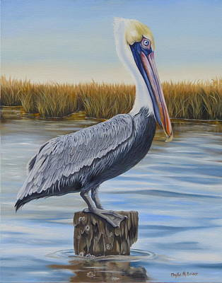 Poster featuring the painting Wolf River Pelican by Phyllis Beiser