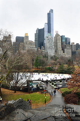 Wolman Rink In Central Park And Buildings From Rat Rock Poster