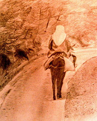 Woman And Donkey-going Home Poster