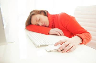 Woman Asleep On Keyboard Poster