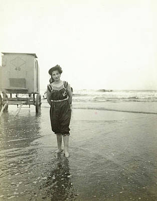 Woman At A Bathing Machine North Sea, The Netherlands Or Poster by Artokoloro