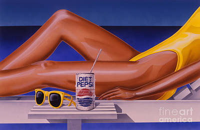 Woman At Beach With Diet Pepsi Poster