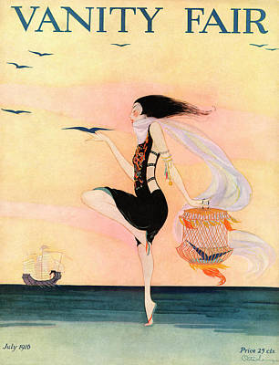 Woman At The Beach With A Caged Bird Poster by Rita Senger