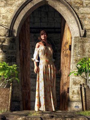 Woman At A Medieval Door Poster by Daniel Eskridge