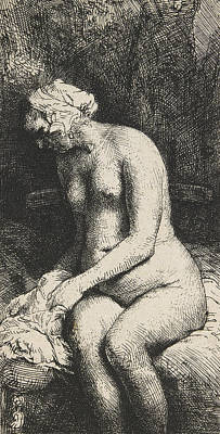 Woman Bathing Her Feet At A Brook Poster by Rembrandt