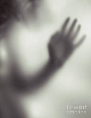 Woman Blurred Hand Behind Glass Poster