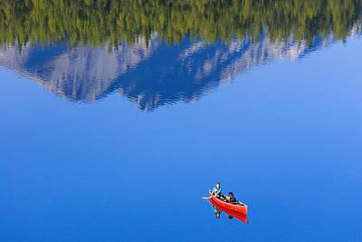 Woman Canoeing Long Lake In Matanuska Poster by Michael DeYoung