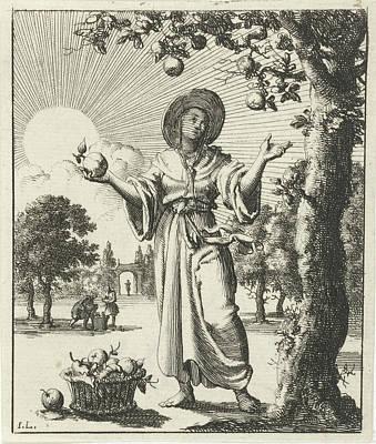 Woman Collects Fruits, Jan Luyken, Pieter Arentsz II Poster