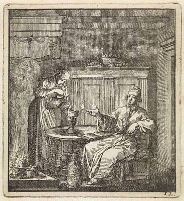 Woman Fills A Burning Oil Lamp, Jan Luyken Poster by Jan Luyken And Wed. Pieter Arentz And Cornelis Van Der Sys Ii
