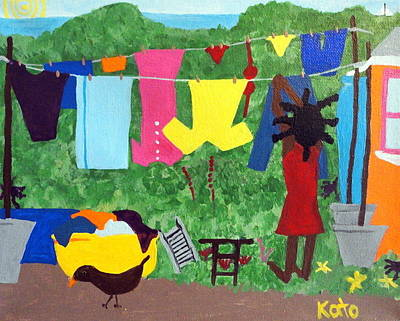 Woman Hanging Clothes Poster by Kato Charles