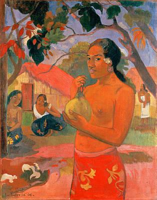 Woman Holding A Fruit.where Are You Going . Eu Haere Ia Oe Poster