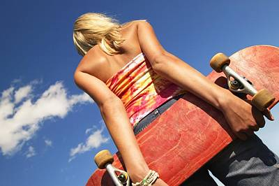 Woman Holding A Skateboard Poster