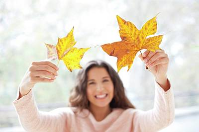 Woman Holding Autumn Leaves Poster by Ian Hooton