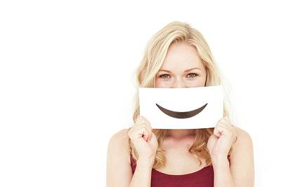 Woman Holding Smiley Mouth Poster