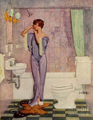 Woman In Bathroom 1930s Uk Cc Cc Poster by The Advertising Archives