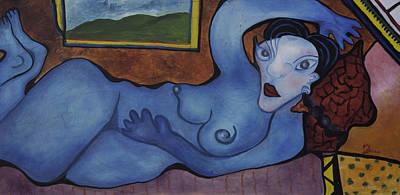 Woman In Blue Poster by Jaime Rodriguez-raigoza