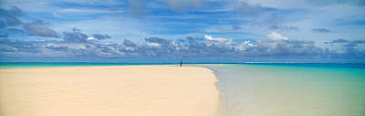 Woman In Distance On Sandbar, Aitutaki Poster by Panoramic Images