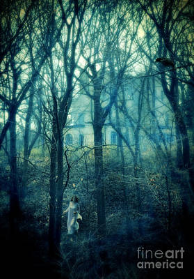 Woman In Nightgown Fleeing From Mansion Poster