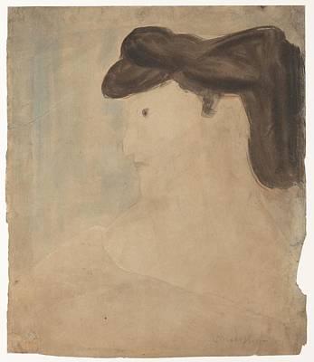 Woman In Profile Poster by Amedeo Modigliani