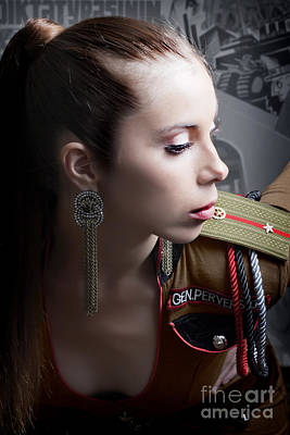 Woman In Russian Army Fetish Uniform Leaning Forward Showing Cleavage Poster by Joe Fox