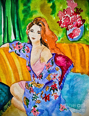 Woman In Silk Kimono Poster by Colleen Kammerer