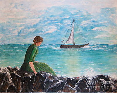 Woman Looking Out To Sea Poster