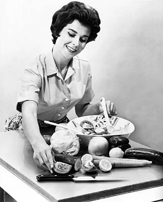 Woman Making A Salad Poster by Underwood Archives