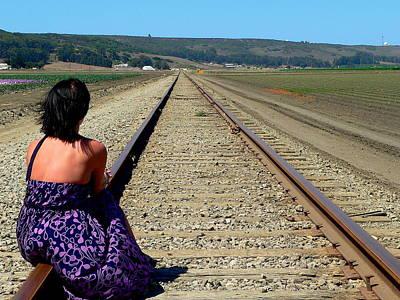 Woman On Railroad Tracks Poster