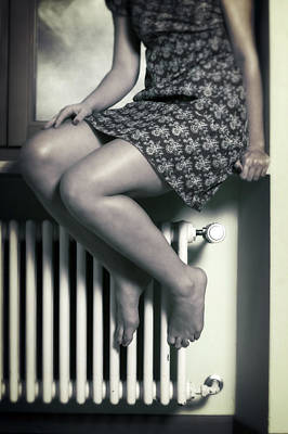 Woman On Window Sill Poster