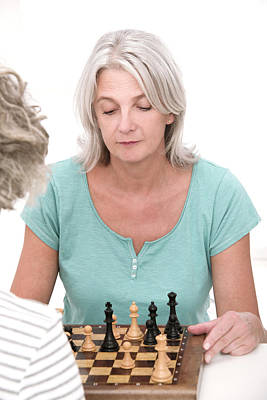Woman Playing Chess Poster by Lea Paterson