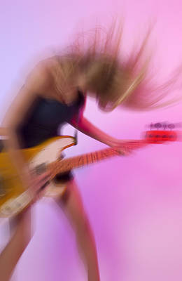 Woman Plays Bass Guitar Poster by Bob Pardue