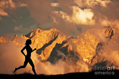 Woman Running Jogging In The Mountains Poster