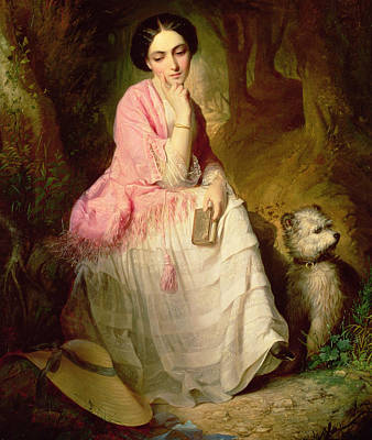 Woman Seated In A Forest Glade Poster