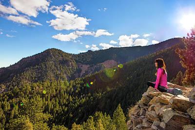 Woman Sitting Enjoying The Mountains Poster