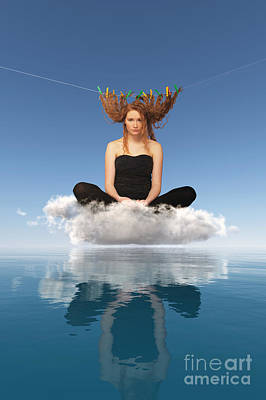 Woman Sitting On Cloud And Drying Red Hairs Poster by Aleksey Tugolukov