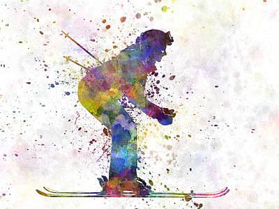 Woman Skier Skiing Poster by Pablo Romero