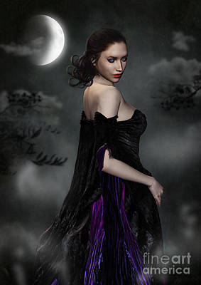 Woman Standing In Night Mist And Fog Poster