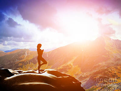 Woman Standing In Tree Yoga Position Meditating In Mountains At Sunset Poster