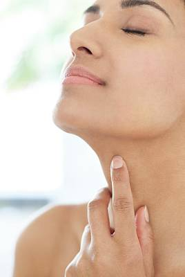 Woman Touching Her Neck Poster