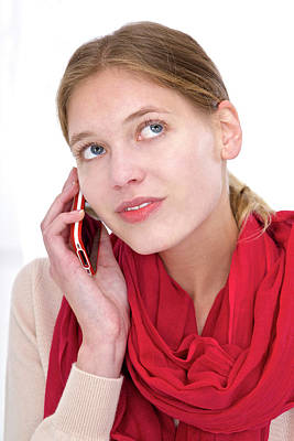 Woman Using Mobile Phone Poster