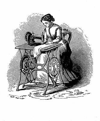Woman Using Sewing Machine Poster