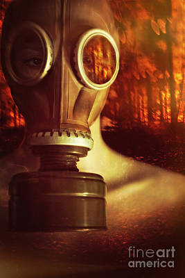 Woman Waring A Gas Mask With Fires Raging In Background Poster by Sandra Cunningham