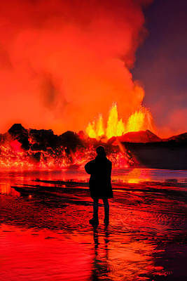 Woman Watching The Lava Flow Poster