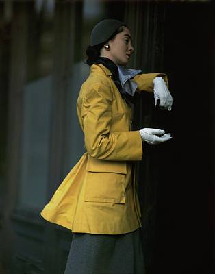 Woman Wearing A Yellow Coat Poster
