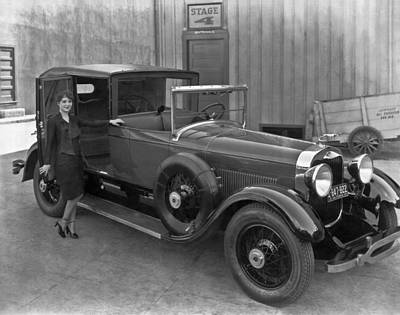 Woman With A 1927 Lincoln Poster