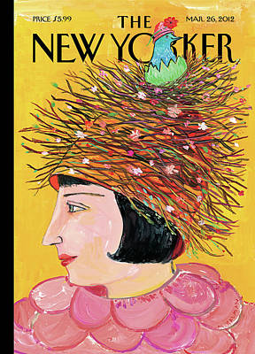 Woman With A Hat That Looks Like A Birds Nest Poster by Maira Kalman