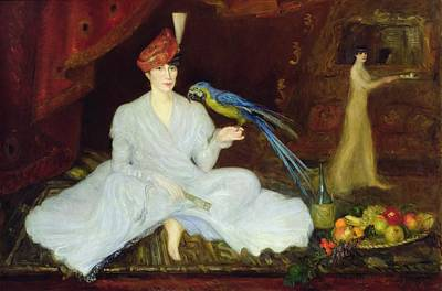 Woman With A Parrot, 1905 Oil On Canvas Poster by Georges Bottini