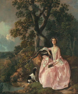 Woman With A Spaniel, C.1749 Poster