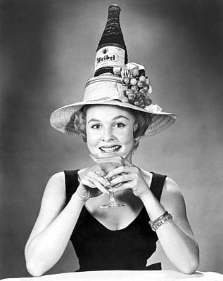 Woman With Champagne Hat Poster by Underwood Archives