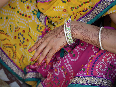 Woman With Henna Tattoo On Her Hand Poster